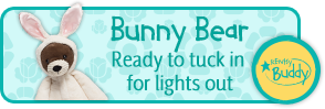 Bunny Bear. Ready to tuck in for lights out. Scentsy Buddy.