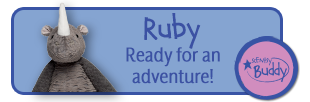 Ruby the Rhino. Ready for an adventure. Rhinocerous Scentsy Buddy.