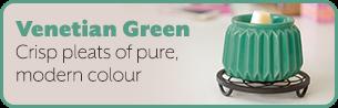 Venetian Green. Crisp pleats of pure, modern colour.