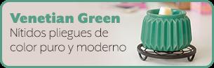 Venetian Green. Crisp pleats of pure, modern color.