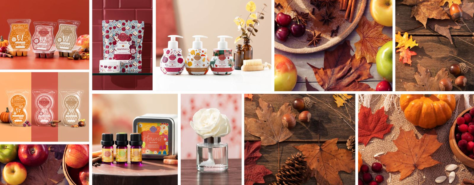 A collage of images showing the Harvest Oil 3-pack, the Harvest Scentsy Bar 3-pack, the Harvest Hand Soap 3-pack, a Buttercup Belle Fragrance Flower, three Scentsy Pod Twin Packs and Appleberry Scentsy Soak and Body Scrub, all surrounded by fall décor.