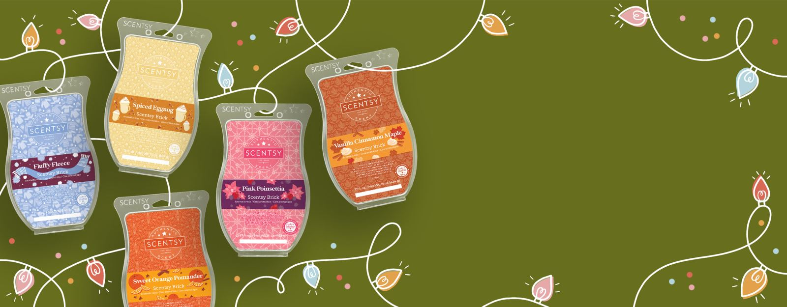 Illustrated holiday lights are strung through each of the five Seasonal Scentsy Bricks.